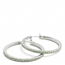 COACH PAVE HOOP EARRINGS - SILVER/PALE GREEN - F95791