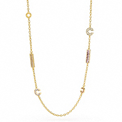 COACH PAVE OP ART SMALL BITS STATION NECKLACE - ONE COLOR - F95793