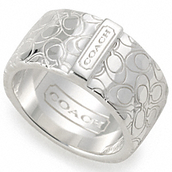 COACH STERLING SIGNATURE HAMMERED BAND RING - ONE COLOR - F95837