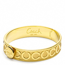 COACH HALF INCH OP ART HINGED BANGLE - GOLD/GOLD - F95856