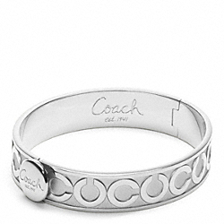 COACH HALF INCH OP ART HINGED BANGLE - SILVER/SILVER - F95856
