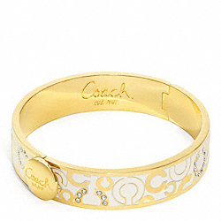 COACH HALF INCH SCATTERED PAVE HINGED BANGLE - GOLD/WHITE - F95872