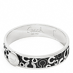 COACH F95872 - HALF INCH SCATTERED PAVE HINGED BANGLE SILVER/BLACK