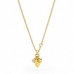 COACH PAVE TRIPLE HEART NECKLACE - ONE COLOR - F95934