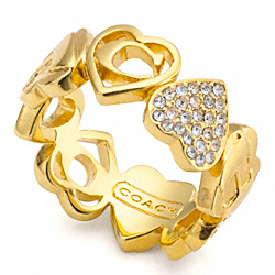MULTI HEART PAVE RING COACH F95963