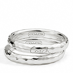 STERLING HAMMERED RING SET COACH F95991