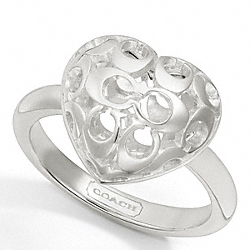 COACH STERLING PUFFY MIRANDA HEART RING - SILVER/SILVER - F95994