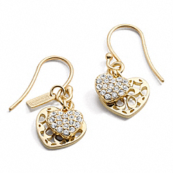COACH DOUBLE HEART DANGLE EARRINGS - ONE COLOR - F96050