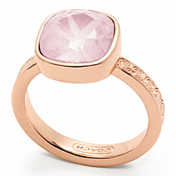 COACH SQUARE STONE RING - ROSEGOLD/PINK - F96053