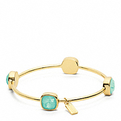 COACH SQUARE STONE BRACELET - GOLD/MINT - F96059