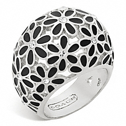 COACH FLOWER DOMED RING - SILVER/BLACK - F96060