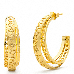 COACH MULTI SIGNATURE HOOP EARRINGS - ONE COLOR - F96068