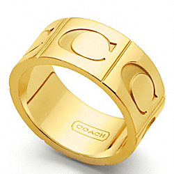 COACH SIGNATURE C BAND RING - GOLD/GOLD - F96071