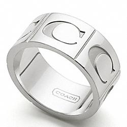 COACH SIGNATURE C BAND RING - SILVER/SILVER - F96071