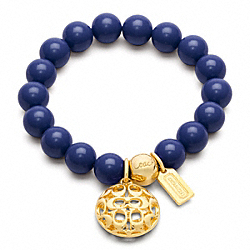 COACH SIGNATURE PUFFY DISC BEAD BRACELET - GOLD/BLUE - F96084