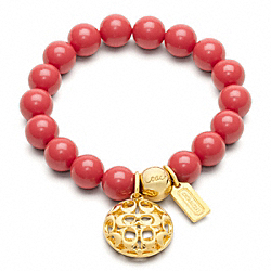 COACH SIGNATURE PUFFY DISC BEAD BRACELET - GOLD/CORAL - F96084