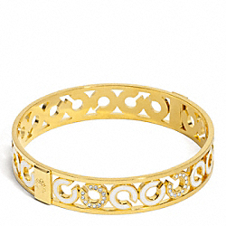 COACH HALF INCH PIERCED PAVE BANGLE - ONE COLOR - F96091