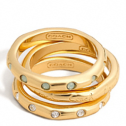 COACH PAVE CORAL RING SET - ONE COLOR - F96113
