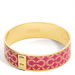 THREE QUARTER INCH OP ART BANGLE - f96138 - GOLD/FUCHSIA