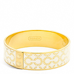 COACH THREE QUARTER INCH OP ART BANGLE - GOLD/WHITE - F96138