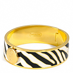 THREE QUARTER INCH HINGED ZEBRA BANGLE - f96176 - 19080