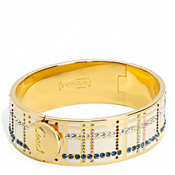 COACH THREE QUARTER HINGED TATTERSALL BANGLE - ONE COLOR - F96179