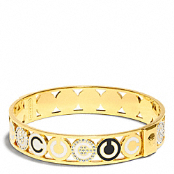 HALF INCH PIERCED OP ART DISC BANGLE - f96187 - 30878