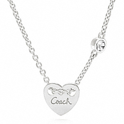 COACH STERLING HEART CHARM NECKLACE - ONE COLOR - F96195