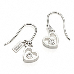 STERLING HEART CRYSTAL EARRINGS COACH F96198