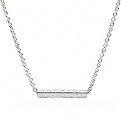 COACH STERLING SIGNATURE BAR NECKLACE - ONE COLOR - F96199