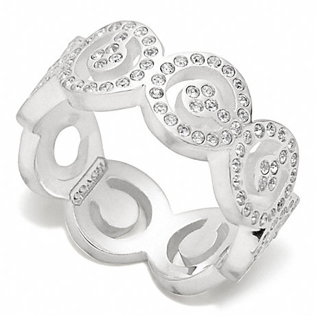 COACH STERLING PAVE OP ART RING -  - f96200