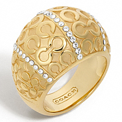PAVE PATCHWORK DOMED RING - f96217 - 24760