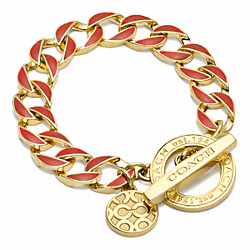 COACH TOGGLE CHAIN BRACELET - GOLD/RED - F96252