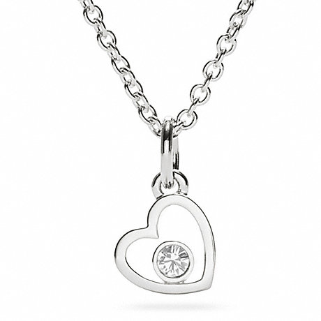 COACH STERLING HEART CRYSTAL NECKLACE -  - f96286