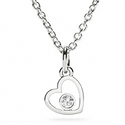 STERLING HEART CRYSTAL NECKLACE COACH F96286