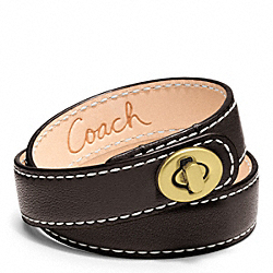 COACH LEATHER DOUBLE WRAP TURNLOCK BRACELET - BRASS/MAHOGANY - F96317