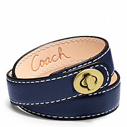 COACH LEATHER DOUBLE WRAP TURNLOCK BRACELET - BRASS/NAVY - F96317