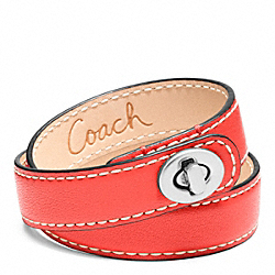COACH LEATHER DOUBLE WRAP TURNLOCK BRACELET - SILVER/CARNELIGHT GOLDAN - F96317