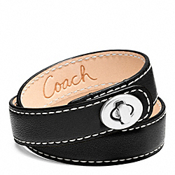 COACH LEATHER DOUBLE WRAP TURNLOCK BRACELET - SILVER/BLACK - F96317