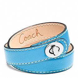 COACH LEATHER DOUBLE WRAP TURNLOCK BRACELET - SILVER/BLUE - F96317