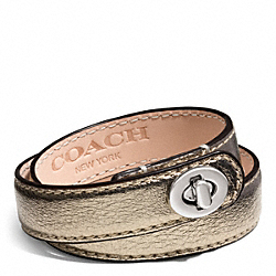 LEATHER DOUBLE WRAP TURNLOCK BRACELET - SILVER/BRONZE - COACH F96317