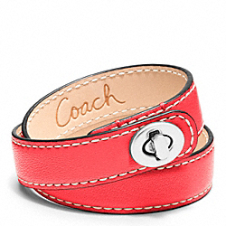COACH LEATHER DOUBLE WRAP TURNLOCK BRACELET - SILVER/CORAL - F96317