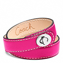 COACH LEATHER DOUBLE WRAP TURNLOCK BRACELET - SILVER/FUCHSIA - F96317