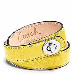 COACH LEATHER DOUBLE WRAP TURNLOCK BRACELET - SILVER/LEMON - F96317