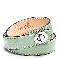 COACH LEATHER DOUBLE WRAP TURNLOCK BRACELET - SILVER/MINT - F96317