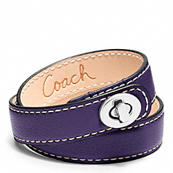 COACH LEATHER DOUBLE WRAP TURNLOCK BRACELET - SILVER/MARINE - F96317