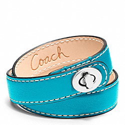 COACH LEATHER DOUBLE WRAP TURNLOCK BRACELET - SILVER/TURQUOISE - F96317