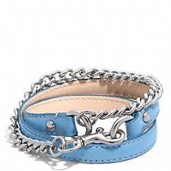 COACH LEATHER AND CHAIN DOGLEASH BRACELET - SILVER/LIGHT BLUE - F96318