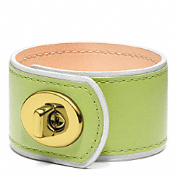 MEDIUM LEATHER TURNLOCK CUFF - SILVER/CITRINE - COACH F96319