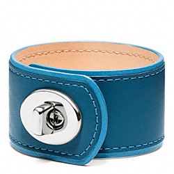 MEDIUM LEATHER TURNLOCK CUFF - f96319 - SILVER/NAVY